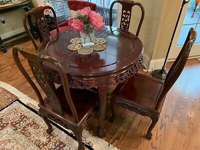 Chinese Rosewood Dining Table W/4 Pristine Chairs