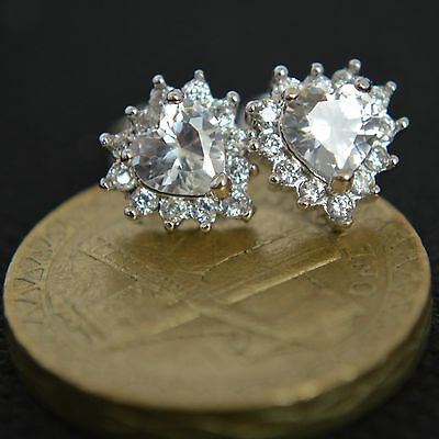 Shiny Solid 925 Sterling Silver CZ Heart Stud Earrings Rhodium Plated Gift