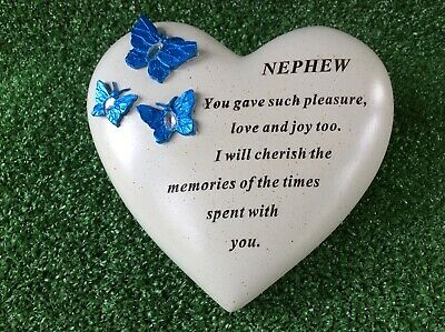 Nephew Heart Shaped Butterfly Ornament, Graveside Memorial Remembrance Gift
