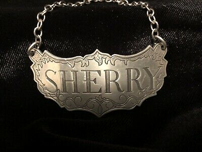 Vintage Stieff Pewter Sherry Liquor Decanter Label Tag On Chain