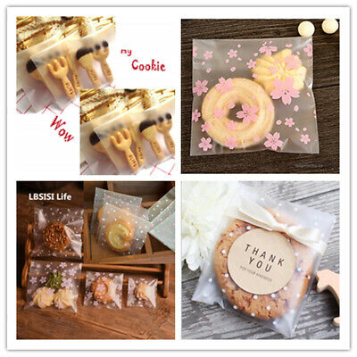 200pcs Self Adhesive Cute Plastic Cookie Bag Candy Gift Packaging Brithday Bags