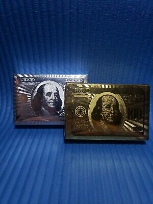 $100 GOLD and SILVER Foil Plating Poker Playing Cards - 2 Deck Bundle!!