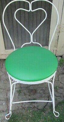 "Vintage White Wrought Iron ice Cream Parlor Chair 32"" High GREEN SEATS"