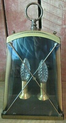 BRONZE Brass Light Fixture Sconce Wall Porch Lantern VTG Century 2 LIGHTS