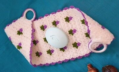 Turkish Style Crochet Bath Shower Exfoliating Body Scrub Loofah White & Purple