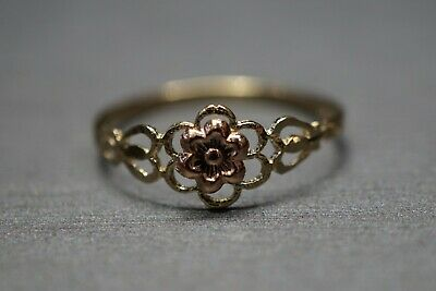 14K Solid Yellow Gold Diamond Cut Flower Band Ring. Size 6