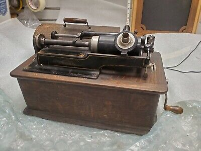 1900's Edison Phonograph Cylinder record Player Vintage Case Wor Antique Model B