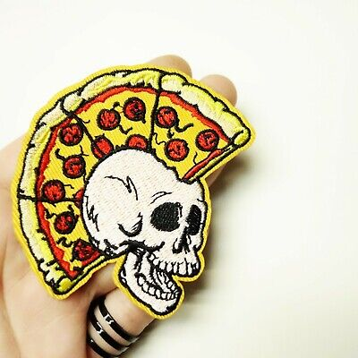 Pizza Mohawk Skull Skeleton Embroidered Patch Iron-On/Sew-On, Punk Rock, Alt