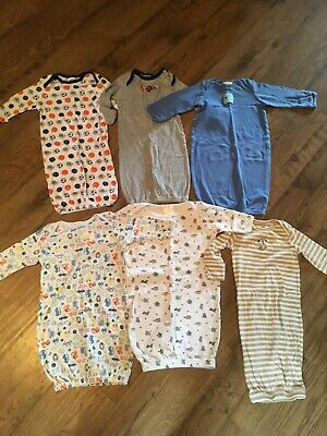 Baby Layette nightgowns/Sleep Sacks Size 0-3 & 0-6 Months~Lot Of 6~EC~Carter's