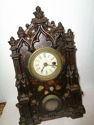 Antique-American-Iron Front Shelf Clock-Patent 1856-To Restore-#T741