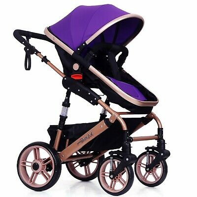 Foldable Baby Stroller Travel Pram Infant High View Pushchair Carriage - Purple