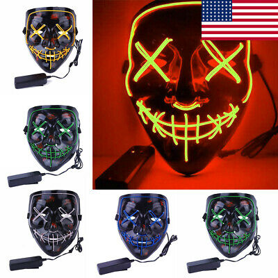 Wire Led Light Up Halloween Masks Cosplay The Purge Election Year Stitched Mask