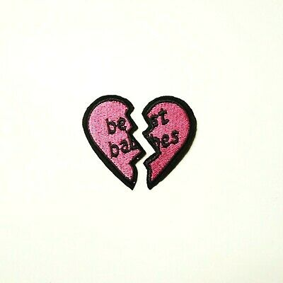 Embroidered Glitter Candy Pink Best Friends BFF Hearts Applique Patch Iron On