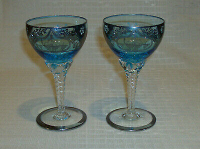 Antique Sterling Silver Overlay Blue Glass Clear Twisted Stem Wine Goblets EUC