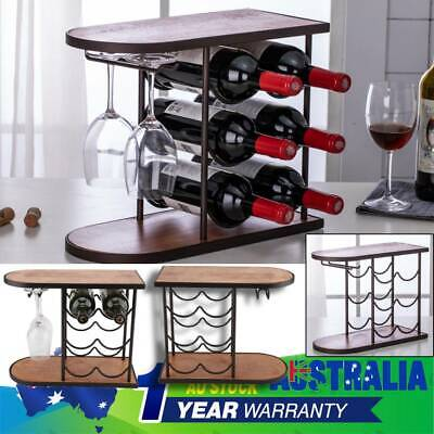 Wine Rack for 6 Bottles Wooden Metal Home Bar Cabinet Storage Organiser AU