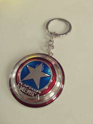 MiNi 5cm Captain America Shield Cosplay Keyring Rotatable Star Alloy Key Chains