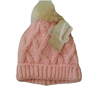 Baby Girl Pink Knitted Hat 12-18m Bnwt