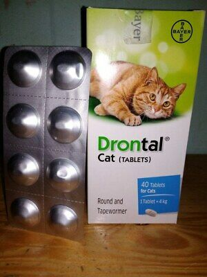 8 Tablets Drontal Cat Tablets - Round/Hookworm/Tape wormer by Bayer