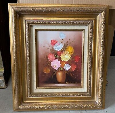 Mid Century Oil Painting Signed by Robert Cox Gold Framed Flowers