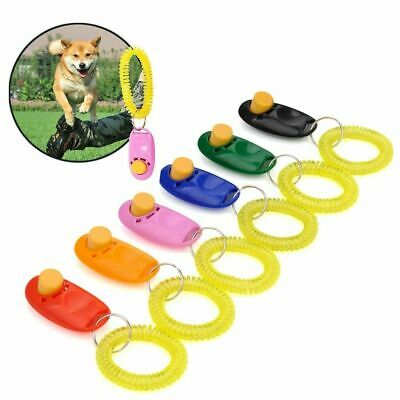 Click Clicker Obedience Training Trainer Aid Wrist Strap Gift Pe Dog For Pu M2C8