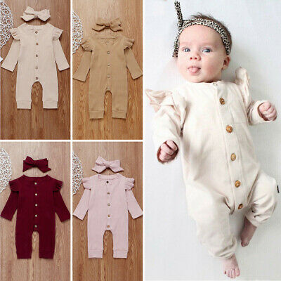 Newborn Baby Girl Boy 2PCS Autumn Clothes Set Knitted Romper Jumpsuit Outfits