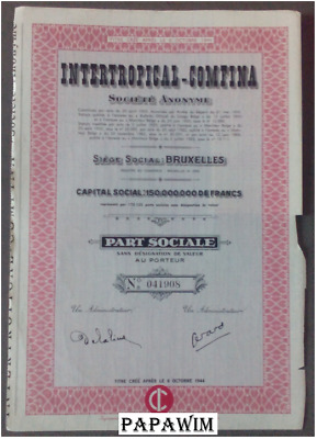 INTERTROPICAL-COMFINA SA - Brussel - part sociale- 12 juni 1963