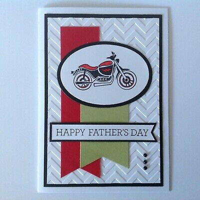 Handmade Father's Day card: Motorbike with red and green.
