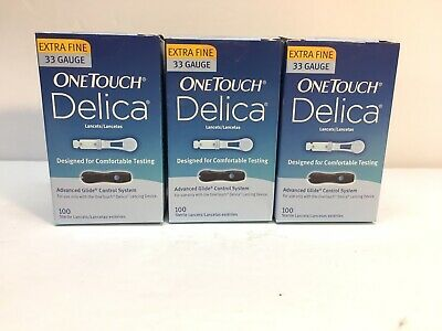 one touch delica lancets 33 gauge Lot Of 3