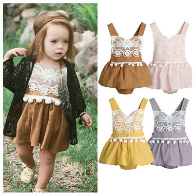 Newborn Infant Baby Boy Girl Solid Linen Lace Backless Romper Bodysuit Clothes