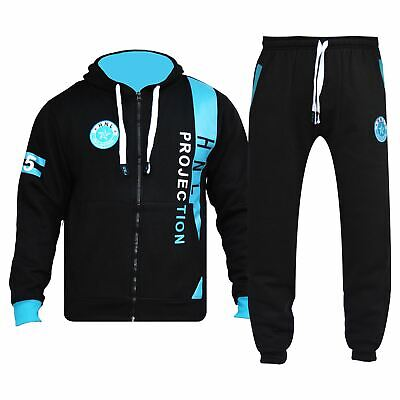 Boys Girls Tracksuit HNL Projection Print Black Hoodie & Botom Jogging Suit 7-13