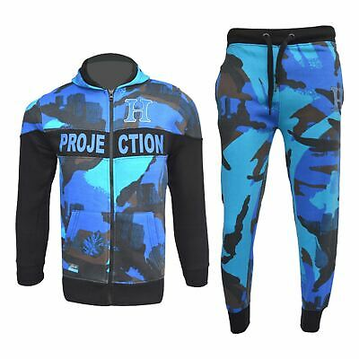Kids Boys Girls Tracksuit HNL Royal Camouflage Hoodie Bottom Jogger Jogging Suit
