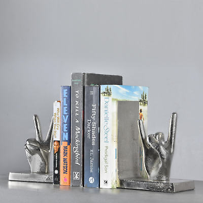 Pastel Country Book Ends Aluminium Hands Victory Bookends (Book Fair Sale)