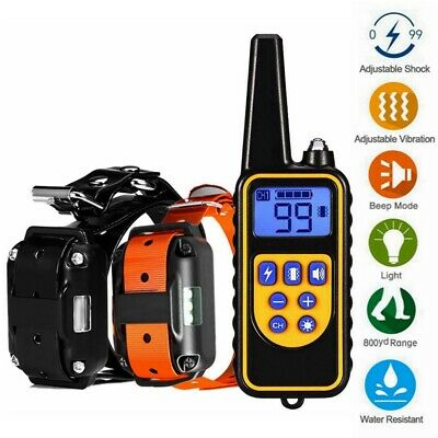 Waterproof Electric 800m Remote Pet Trainer Shock Training Collar for 1 or 2 Dog