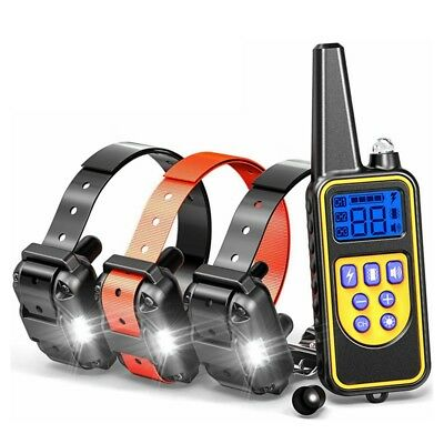 880yard 1/2/3 Dog Shock Collar LED Waterproof IP67 Rechargeable LCD Pet Training
