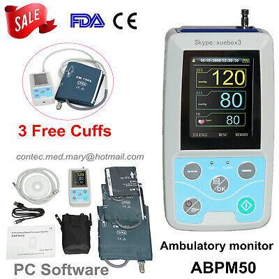 CONTEC ABPM50 24 Hours Care Ambulatory Blood Pressure Monitor +3 Cuffs CE FDA US