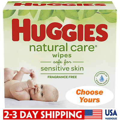 HUGGIES Natural Care Unscented Baby Wipes, Sensitive, Refill Packs