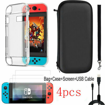 Nintendo Switch Case Bag+Shell Cover+Charging Cable+Protector Accessories  UK