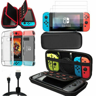 Nintendo Switch Case Bag+Shell Cover+Charging Cable+Protector Accessories