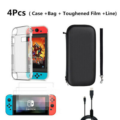NEW Nintendo Switch Case Bag+Shell Cover+Charging Cable+Protector Accessories