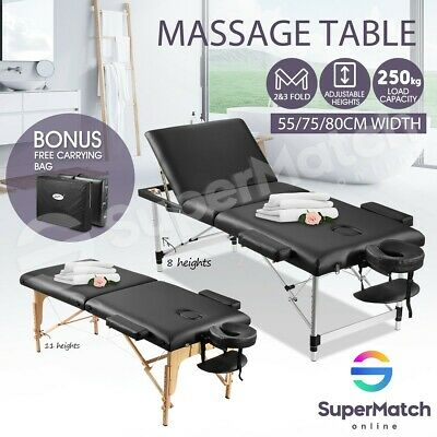 55/75/80cm Portable Aluminium/Wooden Massage Table Therapy Bed Foldable 2/3 Fold