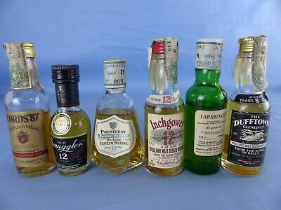 Lot 6 Mignonnettes whisky LAPHROAIG SMUGGLER INCHGOWER THE DUFFTOWN LORD'S 87
