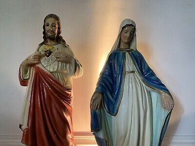 Large Vintage Religious Statues Chalkware Jesus Mary Steampunk Retro Plaster