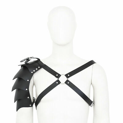 Men/'s Sissy Leather Adjustable Buckle Armor Body Chest Harness Clubwear Costumes