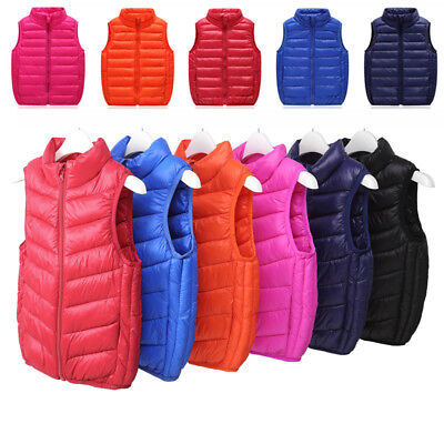 Kids Toddler Boys Girls Cotton Down Vest Jacket Ultralight Puffer Warm Waistcoat