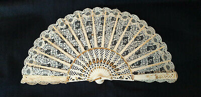 Vintage 1980s hand held fan - cream sticks and lace leaf