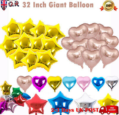 "32"" GOLD SILVER Foil Helium STAR HEART Bunting Birthday Party Balloons UK STOCK"