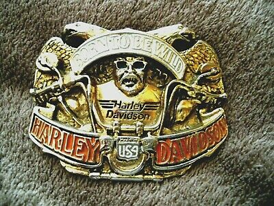 "Harley Davidson Belt Buckle ""Born To Be Wild"" 1992 Baron U.S.A.vintage collector"