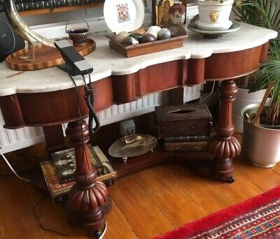 Mahogany Marble Top Sideboard Console Table Antique Wash Stand Victorian