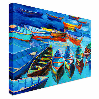 Print of boats and sea Canvas Wall Art Picture Print