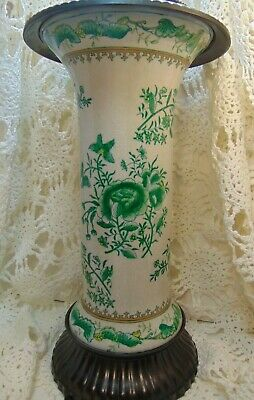 Antique United Wilson JUWC 1897 Chinese Porcelain Vase With Bronze Base & Collar